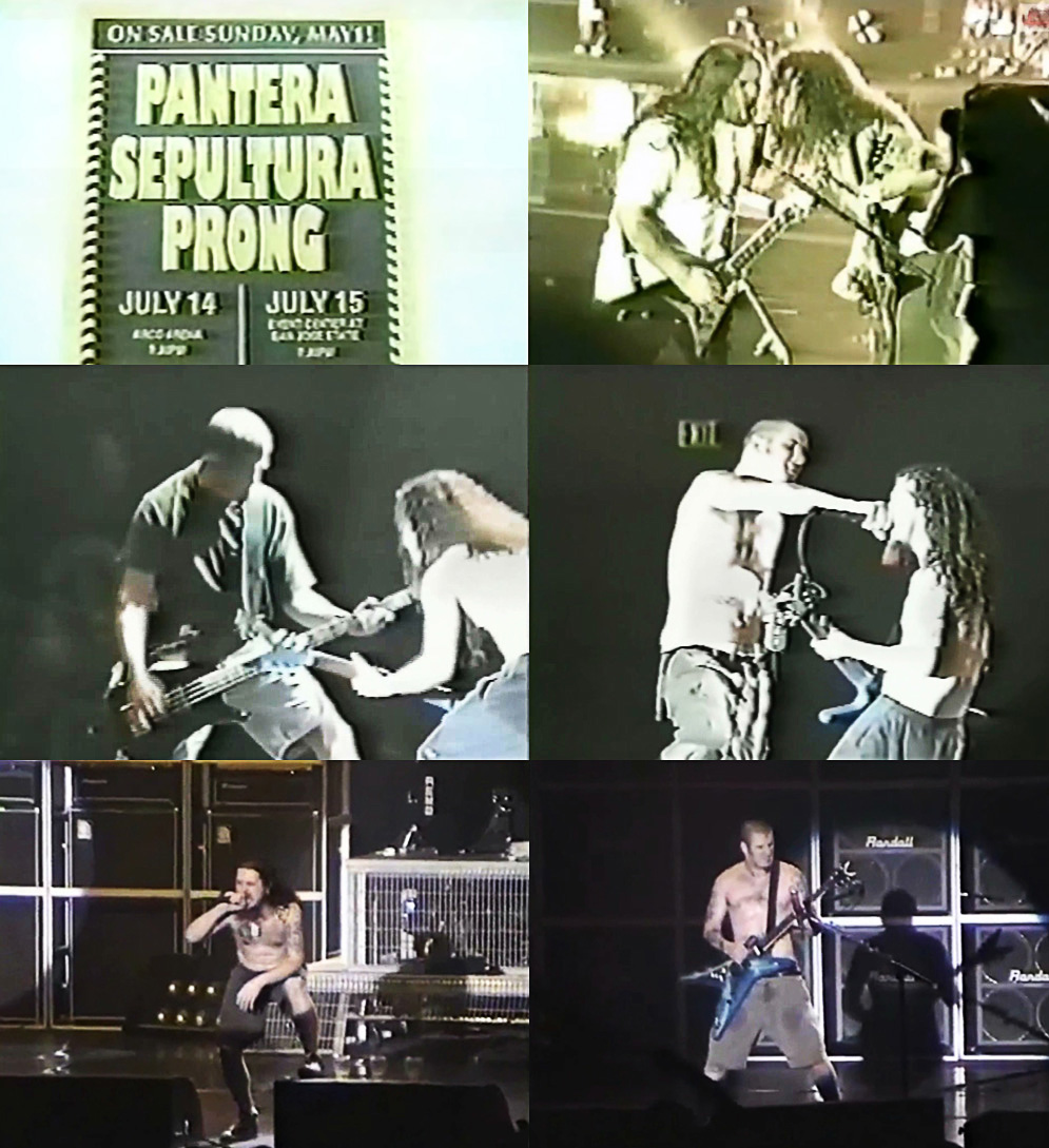 Pantera (1994) com Jason Newsted e Andreas Kisser no palco